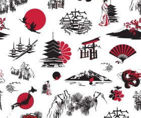 Japanese elements stick figure vector