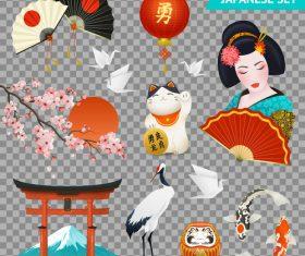 Japanese ethnic elements symbols vector