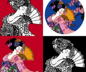 Japanese geisha illustration vector