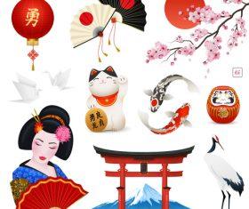 Japanese national symbols vector