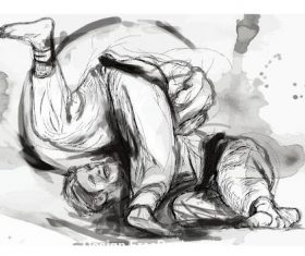Jiu-Jitsu hand drawn illustration vector