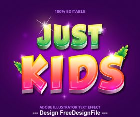 Just kids editable font effect text vector