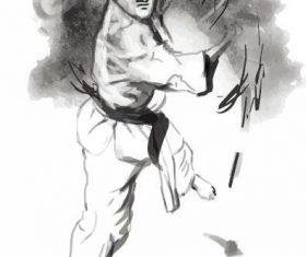 Karate hand drawn illustration vector