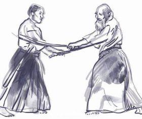 Kendo hand drawn illustration vector
