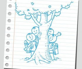 Kids behind the big tree comic characters vector