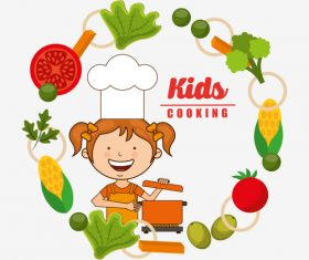 Kids cooking vector