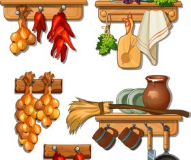 Kitchen food cartoon vector
