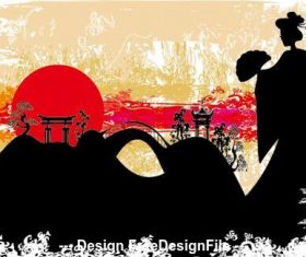 Landscape japanese art vector