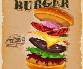 Layered burger snack poster vector