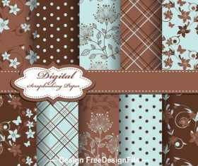Light blue and brown tone seamless floral pattern vector