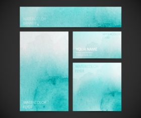 Light blue watercolor gradient card background vector