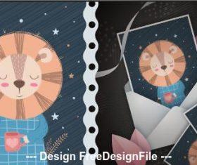 Lion cartoon patternand cover postcard vector