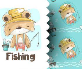 Little bear fishing cartoon background illustration vector