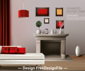 Living room template vector