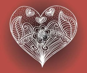 Love doodle with floral vector