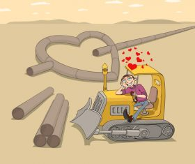 Love tractor funny caricature vector