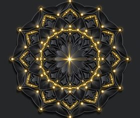 Mandala pattern effect of dark Damascus gold vector