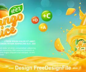 Mango juice poster vector