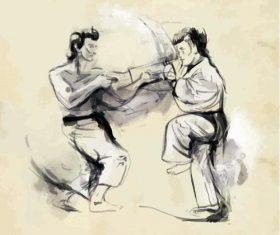 Martial arts hand drawn illustration vector