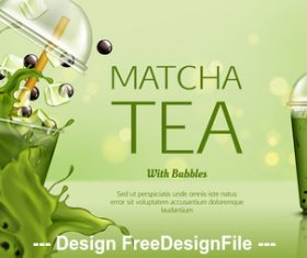 Matcha tea poster vector
