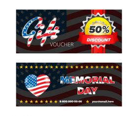 Memorial day gift voucher design template vector