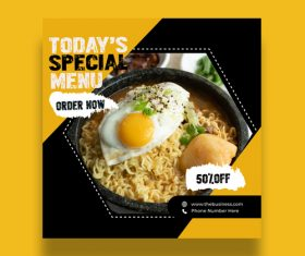 Menu and eating social media promotion template vector