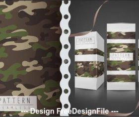 Military camouflage wrapping paper seamless pattern vector