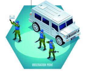 Military observation point cartoon illustration vector