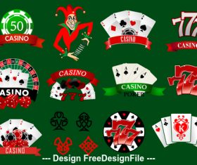 Mixed casino various icons vector