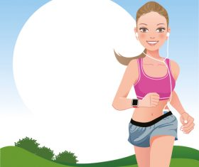 Morning exercise girl vector