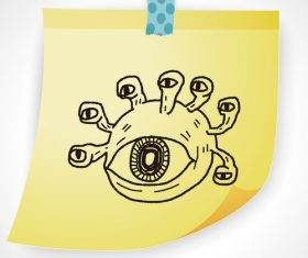 Multi-eyed monster creative doodle vector