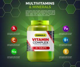 Multivitamins minerals advertising cover vector