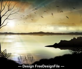 Nature landscape illustrations vector