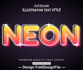 Neon editable font effect text vector