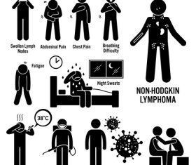 Non-hodgkin lymphoma medical icons vector