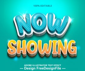 Now showing editable font effect text vector