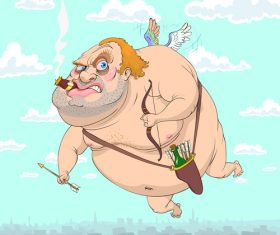 Old cupid funny caricature vector