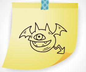 One-eyed monster creative doodle vector