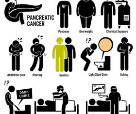 Pancreatic cancer icons vector