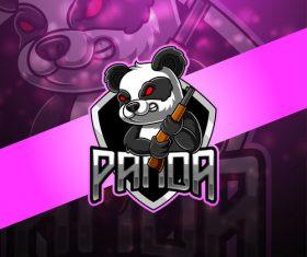 Panda with gun gaming logo vector