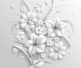 Paper cut art flower background vector