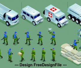Peacekeeping troops and vehicles cartoon illustration vector