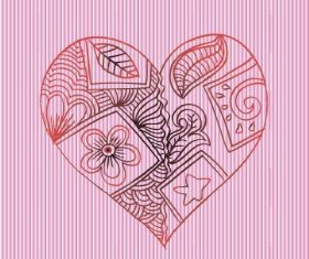 Pink background love doodle with floral vector
