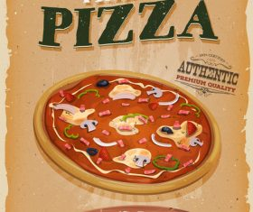 Pizza snack poster vector