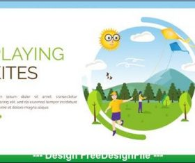 Playing kites cartoon illustration vector