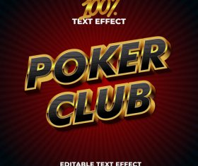 Poker club editable font effect text vector