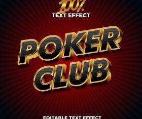 Poker club editable font effect text vector