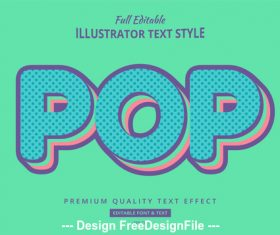 Pop editable font effect text vector
