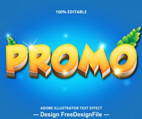 Promo editable font effect text vector