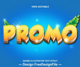 Promo editable font effect text vector